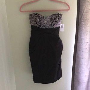 Strapless Black & Snakeskin Cocktail Dress